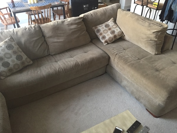 Used Large Plush 2 Piece Sectional Sofa For Sale In