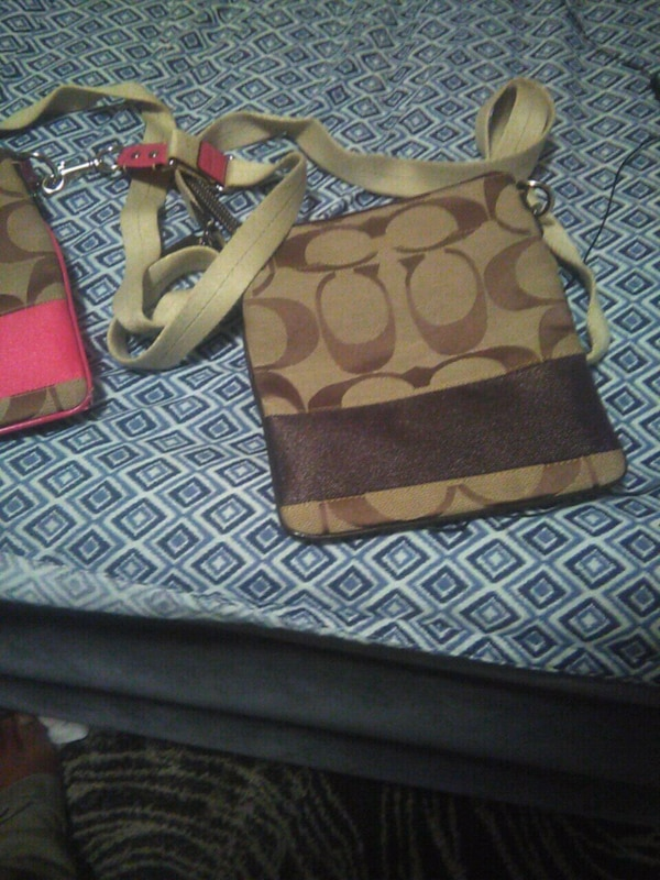 63f711e04a04 Used brown and black leather tote bag for sale in Hampton - letgo