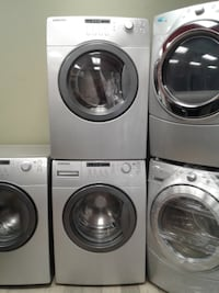 two gray front-load clothes washer and dryer null