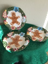 Three delightful ceramic frosted gingerbread man plates hand painted Christmas decor Murrieta, 92563