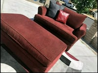 Champagne Red Couch & Footrest ** DELIVERY IS AVAI Las Vegas