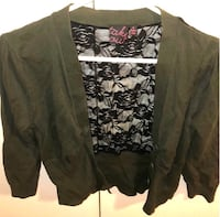 Green and black lace floral long-sleeved shirttail 378 mi