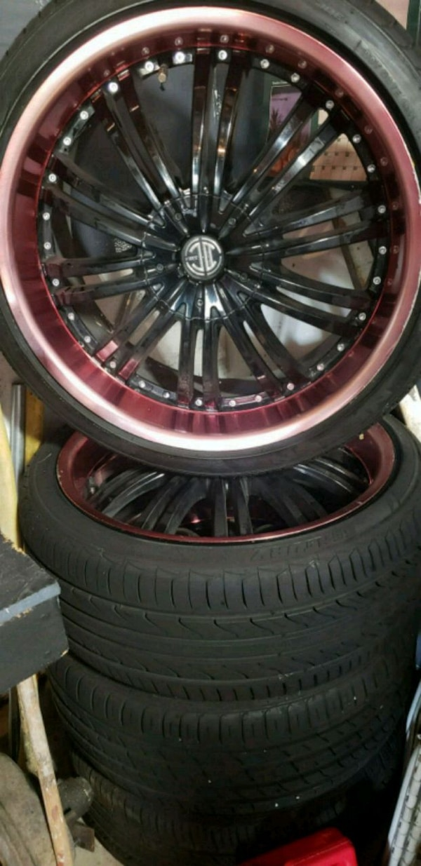 RIMS TIRES  Red lip with black smoke rims