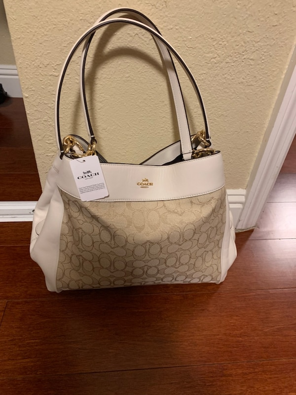 65c387803f15 Used White and brown coach monogram leather tote bag for sale in San  Leandro - letgo