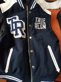 blue and white True Religion varsity vest Toronto, M1K 4P7