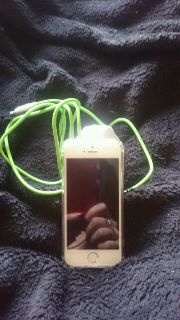 Used, white iPhone 5 with green charger for sale  St Helens