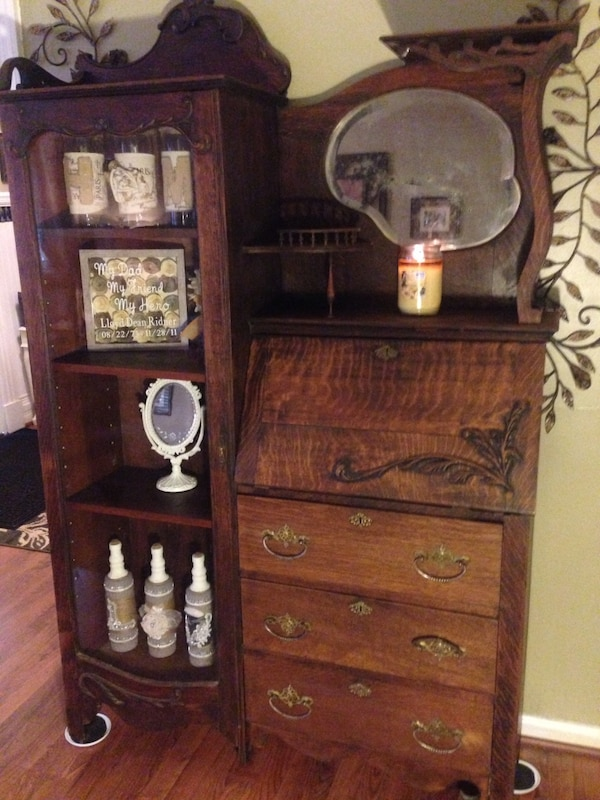 1850's antique secretary desk and China cabinet - Used 1850's Antique Secretary Desk And China Cabinet For Sale In