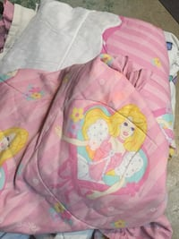 pink Disney princess print blanket Times two. One twin size bed one double bed