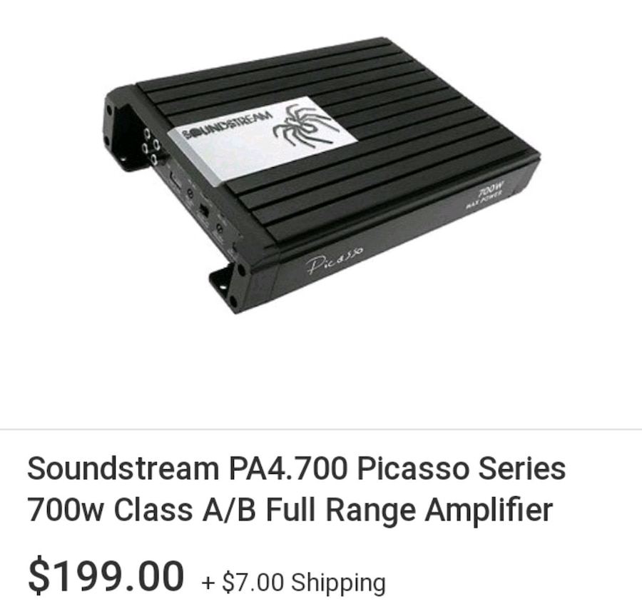 Photo Soundstream PA4.700 Picasso Series 700w Class A/B Full Range Amplifier