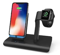 Brand New Seal In Box Apple Watch Charger Qi Wireless iPhone X Charging Dock Station Holder, Support Apple Watch Series 3/2/1 & Nike, iPhone X/8/8 Plus & Samsung Galaxy S9/S9 Plus/Note 8 Black Hayward, 94544