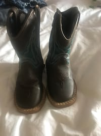 toddler's black wooden cowboy boots