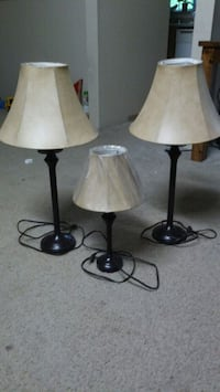 two black metal base white shade table lamps Bellevue, 98005