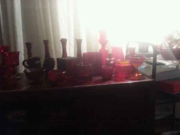 Ruby red antique glass set