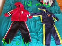 blue and red full-zip jackets