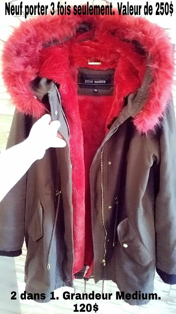 brown and red parka full-zip jacket