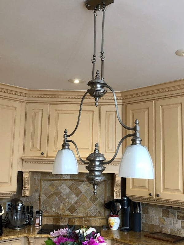 Brushed nickel pendant chandelier.  Great for an island! 4c63851c-67f1-4ca4-9450-e8a89e9fb555