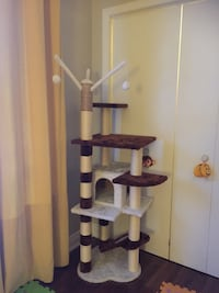 brown and white cat tree