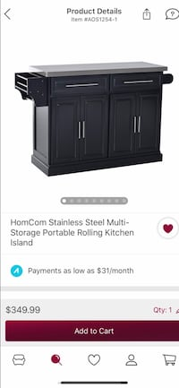 Black wooden kitchen island with stainless steel top Hanover, 21076