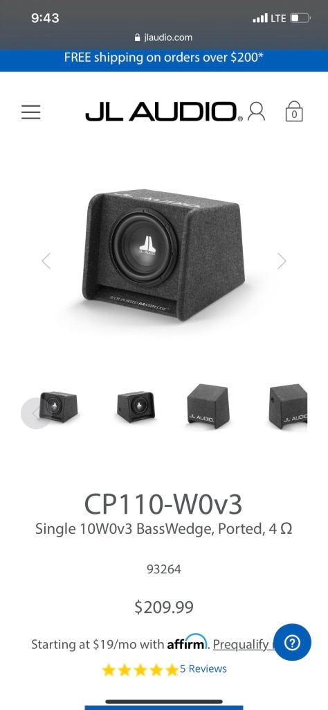 Photo Jl audio single 10 sub