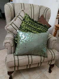 gray and green floral fabric sofa chair Brampton, L6P 2J4