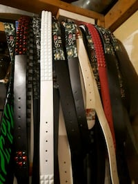 black and white leather belt 3665 km
