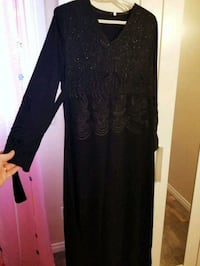 black scoop-neck long-sleeved dress