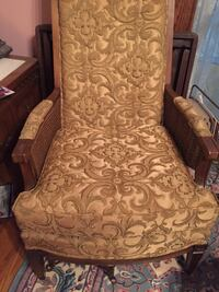 Pair of gold italian upholstered mid century arm chairs
