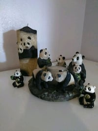 two white and black ceramic figurines