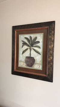 Set of 2 framed palm tree paintings