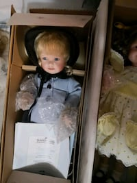 two porcelain doll wearing white and pink dress boxes Edmonton, T5M 0L1
