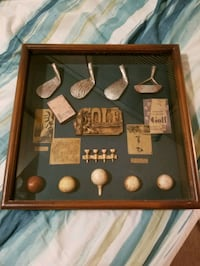 Vintage history of golf collectible shadow box wood framed hanging Omaha, 68132