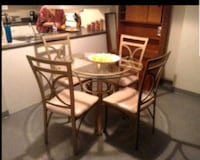 Round glass dining table 4 chairs