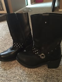 Harley Davidson pair of black leather studded high boots size 6 1/2. Brand new! Fit on bigger side Coquitlam, V3J 1T4
