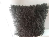Faux fur Gray shaggy farmhouse home decor pillow   Wrightsville, 17368