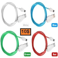 Flowing LED visible flashing charger for I Phone and Android smart phones Montreal, H9B 2G3