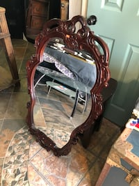 brown wooden framed mirror with brown wooden chair Portland, 78374