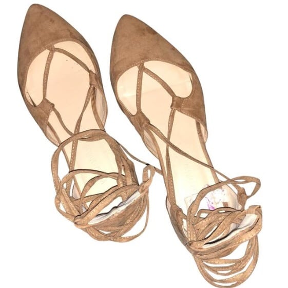 Tan Suede Ankle Wrap Flats