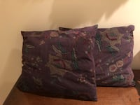 three decorative pillows- faux suede material with Victorian floral patterns.  Chagrin Falls, 44023