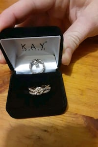 Diamond wedding band/engagement ring and diamond pendant