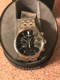 Silver-colored citizen chronograph watch with link bracelet