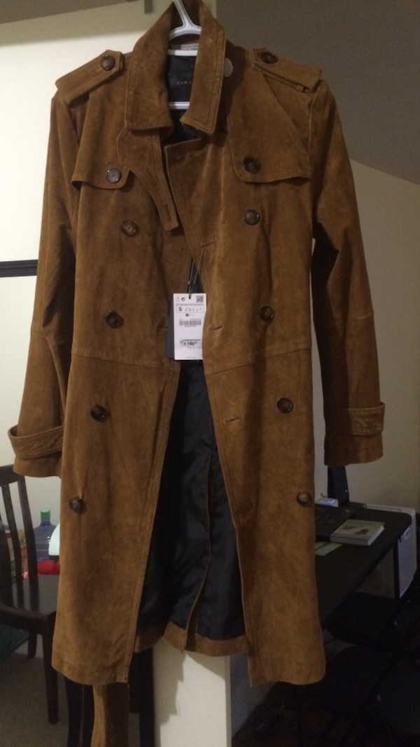 Used Zara Men Double Breasted Suede Real Leather Peccary Trench Coat