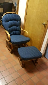 blue and brown glider chair