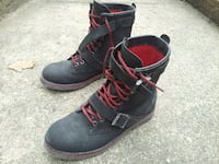 Mens Ralph Lauren POLO Maurice Black Leather Motorcycle Buckle Straps Boots Size 9.5 Guttenberg