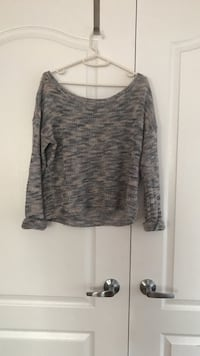gray scoop neck sweater. Garage Vaughan