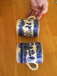 Two white-and-blue ceramic antique cups. Price negotiable Roswell, 88203