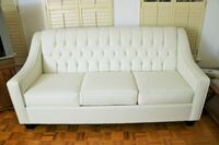 New Pure White Tufted 3 Seat Sofa Ajax
