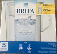 NEW Brita Filtration 5 Cup Slim BPA Free Water Pitcher with 1 Filter (White) Bensalem, 19020