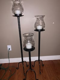 BRAND NEW SET OF 3 IRON CANDLE STANDS WITH GLOBES  North Dumfries, N0B 1E0