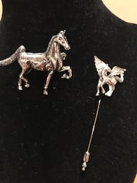 Two Silver Horse Pins