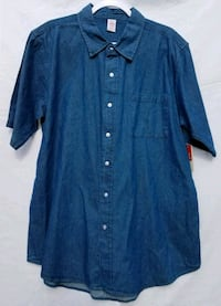 Mens Denim Short Sleeve Shirt, Large, New Oklahoma City, 73159
